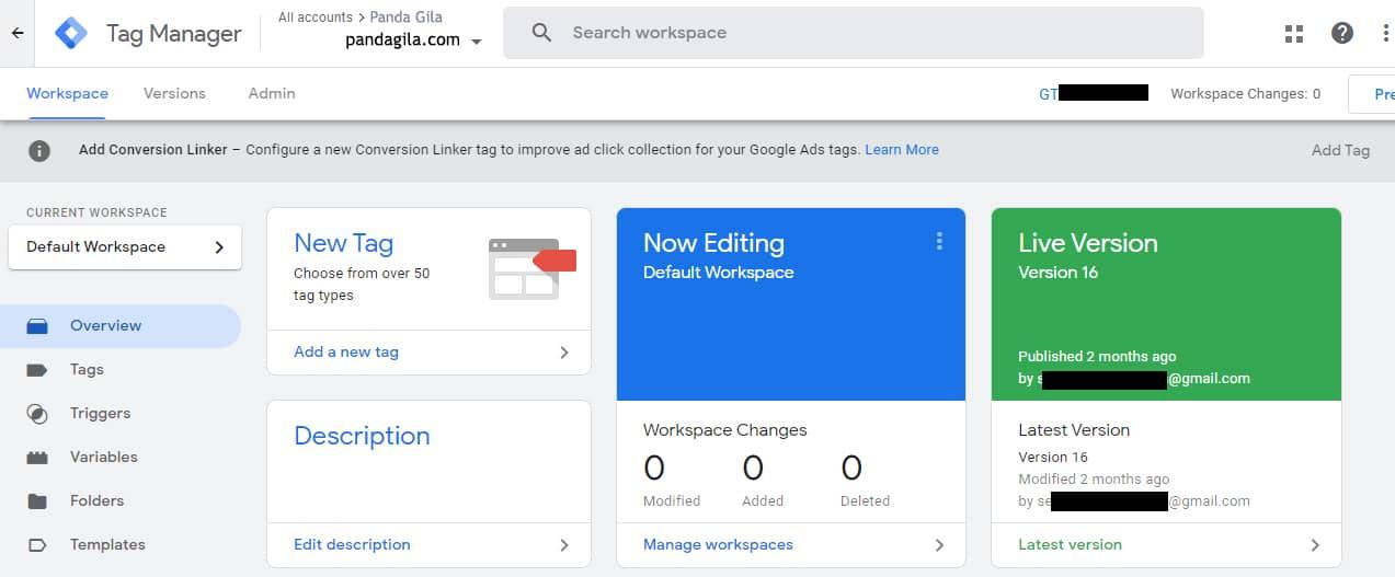 Tampilan Workspace Google Tag Manager