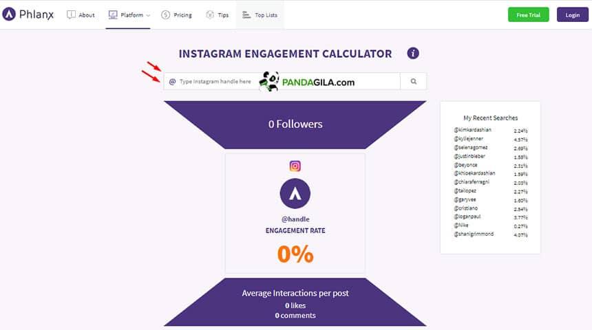 Kalkulator engagement di Phlank