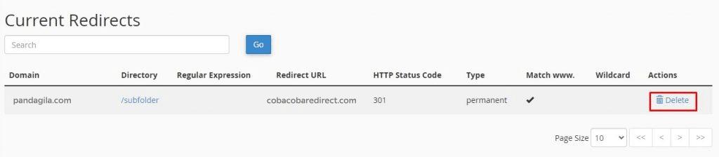 Cara menghapus redirect dari cPanel website