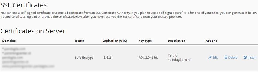 Melihat Certificate SSL yang sudah terbit