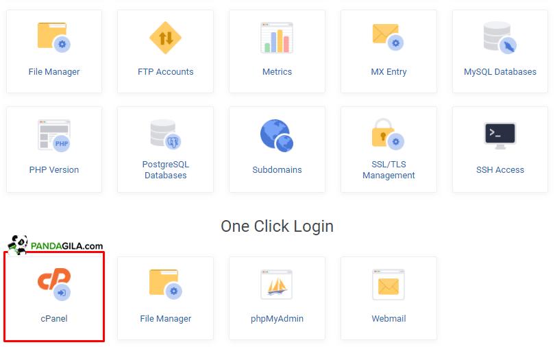 Tampilan cPanel di layanan hosting