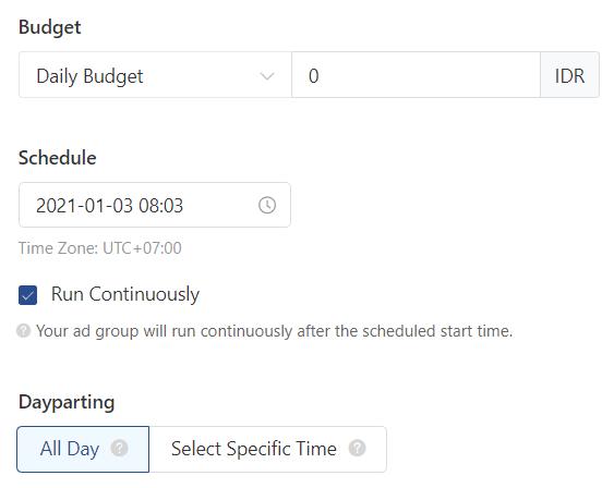 Mengatur Budget di level AdGroup iklan TikTok