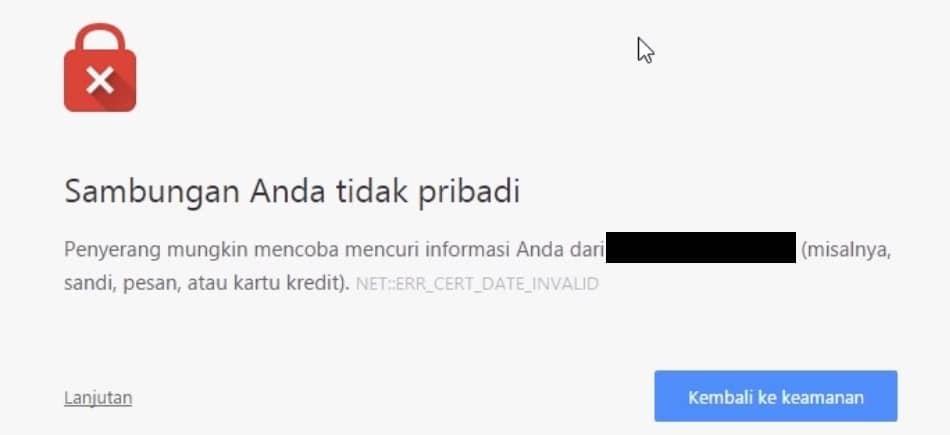 Peringatan keamanan Google karena tidak menggunakan SSL/ TLS HTTPS