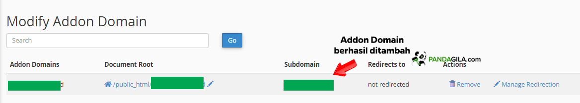 Penambahan Addon Domain Berhasil