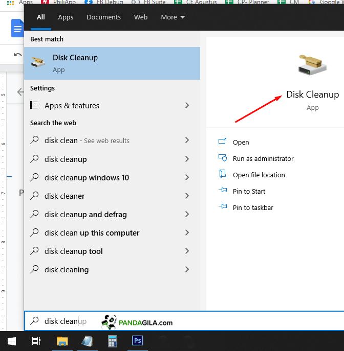 Menggunakan Disk Cleanup untuk menghilangkan malware