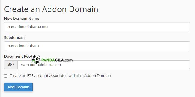 Konfigurasi domain di Addon Domain