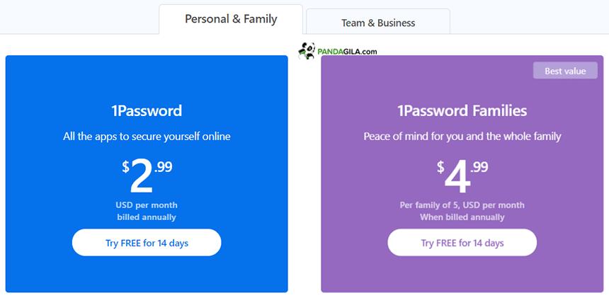 Harga menggunakan password manager 1Password