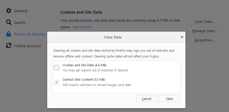 Cara menghapus cache di Firefox