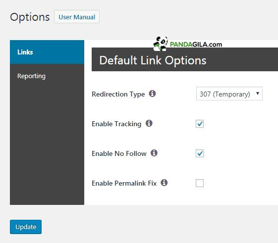 Option - Setting Pengaturan Pretty Links