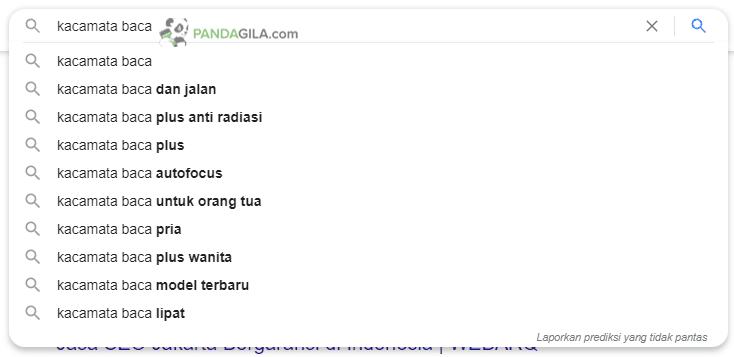 Contoh google autocomple untuk keyword kacamata baca