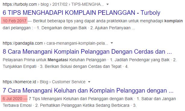 Tampilan Tanggal Postingan di Hasil Pencarian